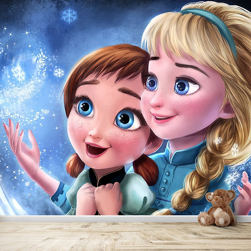 Elsa and Anna from Frozen, wallpaper for kids room