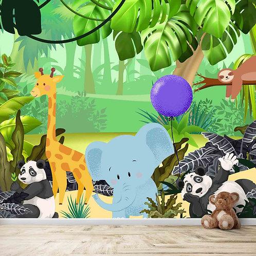 Cute Jungle theme kids room wallpapers