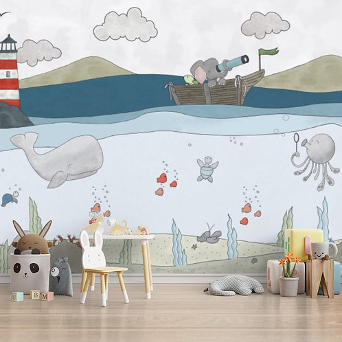 Aquatic animals kids room wallpaper