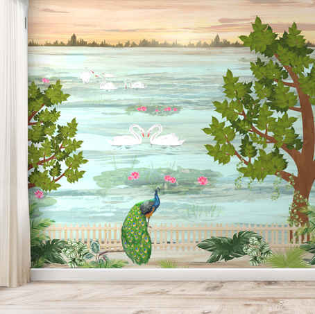 lifencolors-wallpaper-painting-indian-peacock-swan-bedroom-livingroom