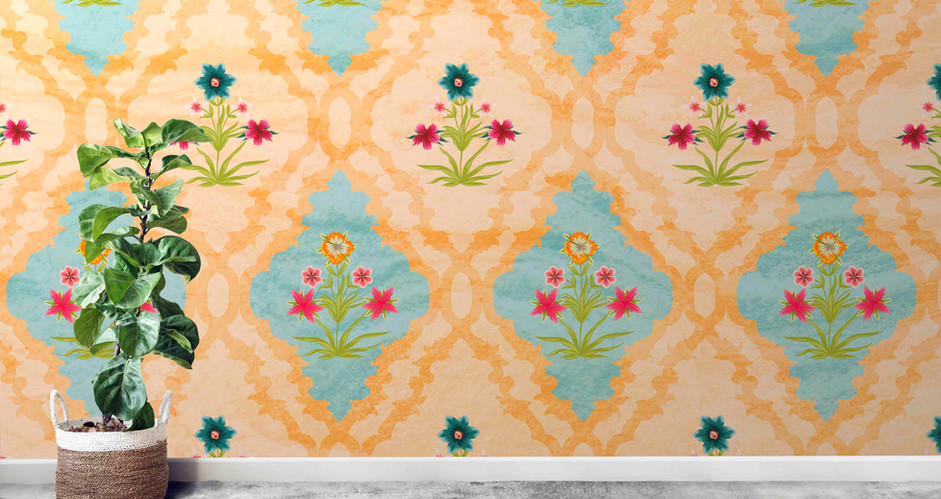 LifeNcolors-Damask-pattern-wallpapers-yellow-flower