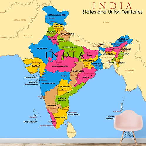 Indian Map Wallpaper for Walls, Customised