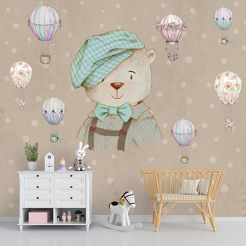 Cute Teddy Wall Mural Customised for Kids Room
