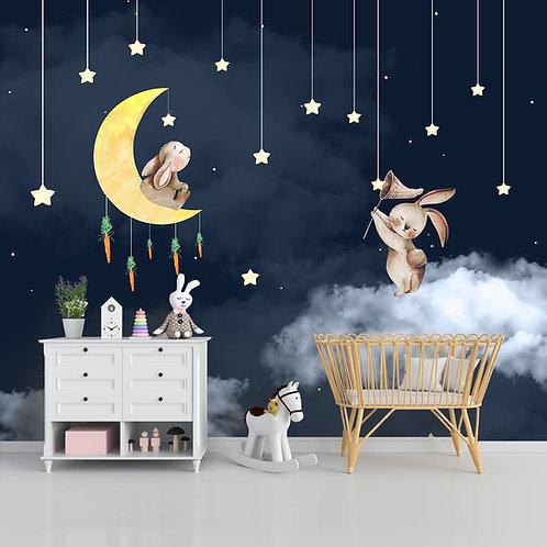 Bunnies in Night Kids Room Wallpaper