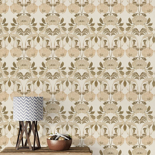 Seamless Beige Floral Repeat Design