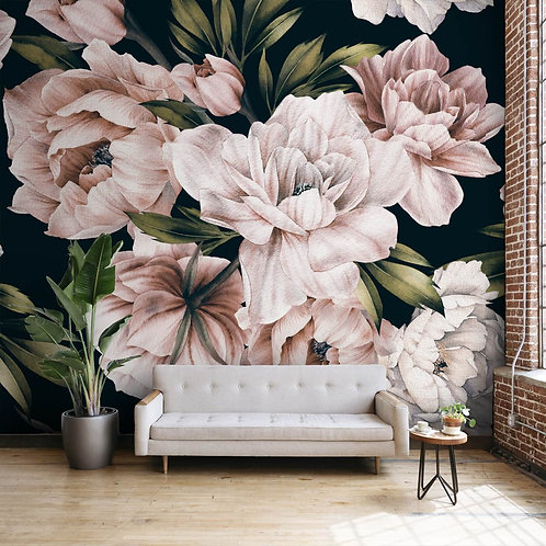 Wallpaper with Pink and White Watercolor Flowers
