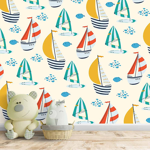 Nautical Wallpaper with Colorful Sailing Boats, Repeat Pattern, Customised