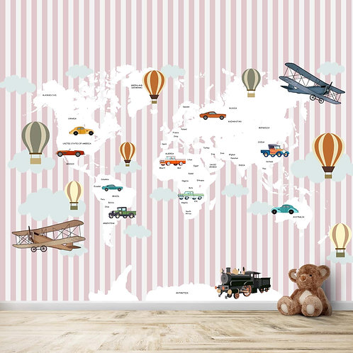 World Map with Gliders, Vintage Cars and Stripe Background