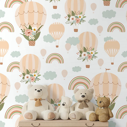 Floral Hot Air Balloon Wallpaper, Customised for Kids Room