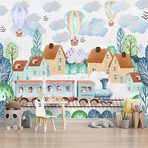 Around The Town Wall Mural for Kids Room