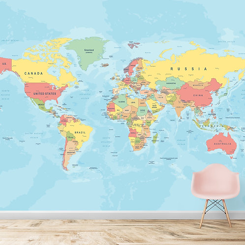 Political World Map Wallpaper, Customised
