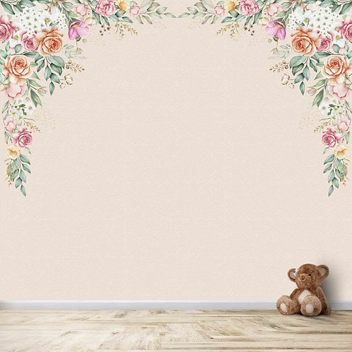 Flowers bouquet wallpaper for kids room