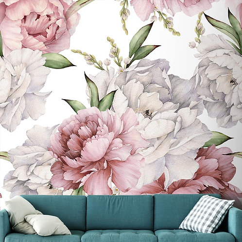 Flowers with Watercolor Effect, Customised Wall Mural for Rooms