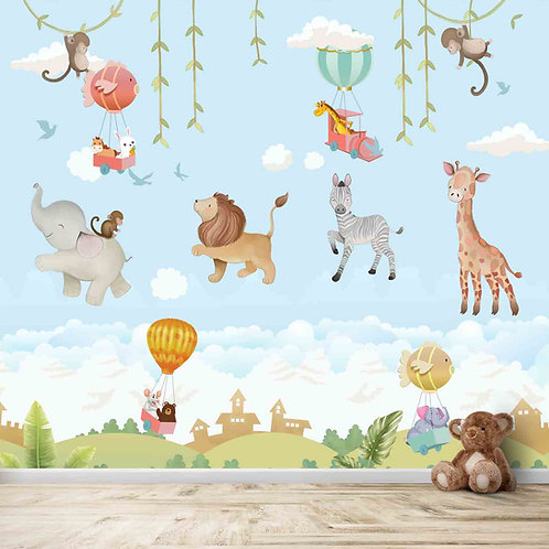 Animals and hot air balloon theme for kids room