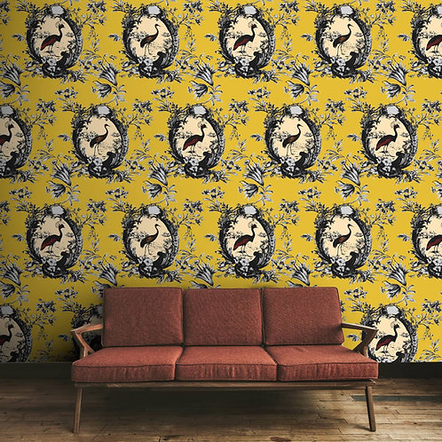 Luxury yellow floral wallpaper