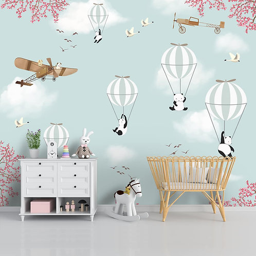 Cute Design with Flying Panda and Hotair Balloons, Wallpaper for Kids Room