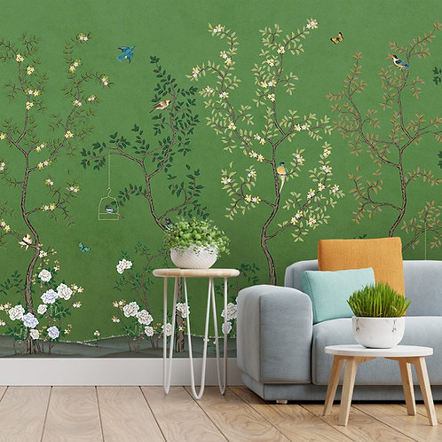 Green Chinoiserie Design Wallpapers for Walls, Customised