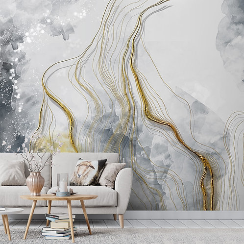 Abstract Design with 3D Golden Strokes Wallpaper