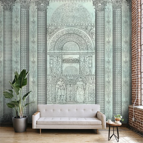 Persian art form, Persian pillar design, best wallpaper for living room