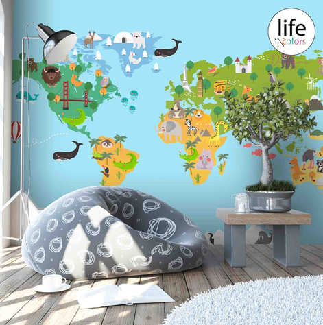 Colorful world map for kids room wallpaper