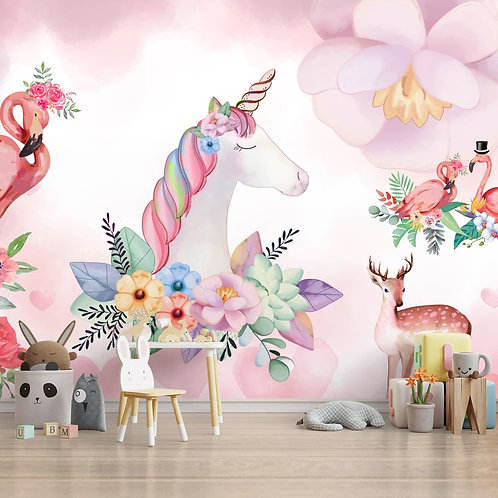 Pink Unicorn Kids Room Wallpaper by Life N Colors
