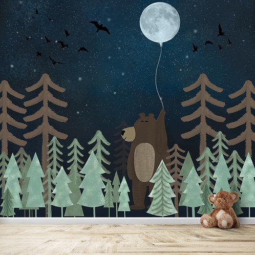 Jungle theme giant bear, nightscape with glittery stars, mural for kids room