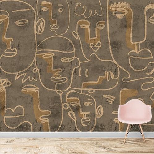 Face art design, dirt brown, distorted textured wallpaper