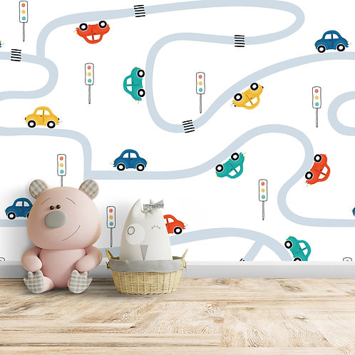 Cartoon Car Repeat Pattern, Customised Wall paper for Room