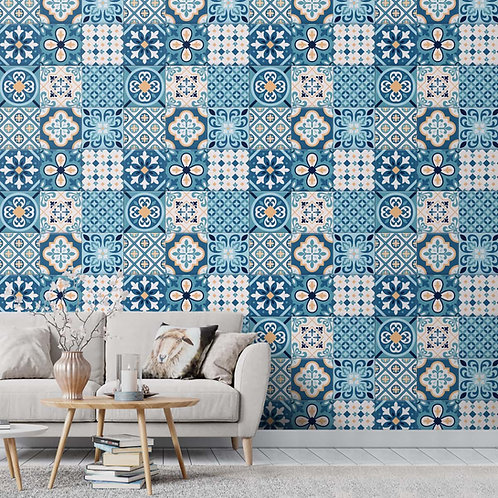 Blue Ceramic Morroccon Tiles Inspired Wall Paper for Homes
