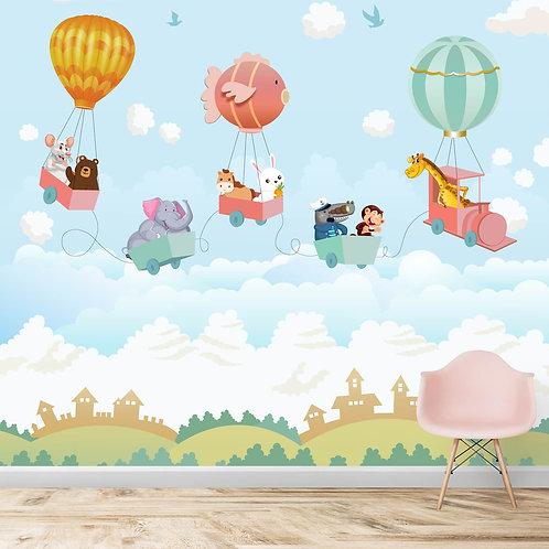 Flying animal train, hot air balloon theme, wall mural for kids room