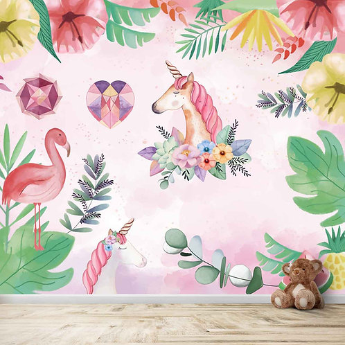 Water painted unicorn with flowers, mural for kids room