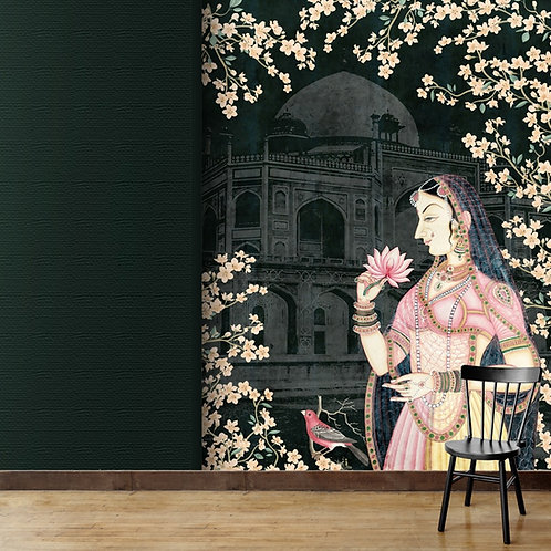 Miniature painting with subtle textured fort background, best wall decor