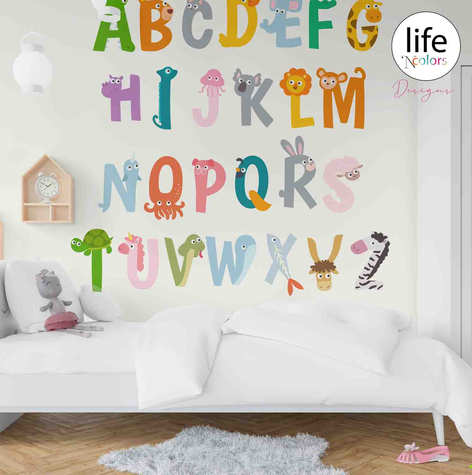 Life N Colors Alphabet themed wallpapers for kid's rooms nursery