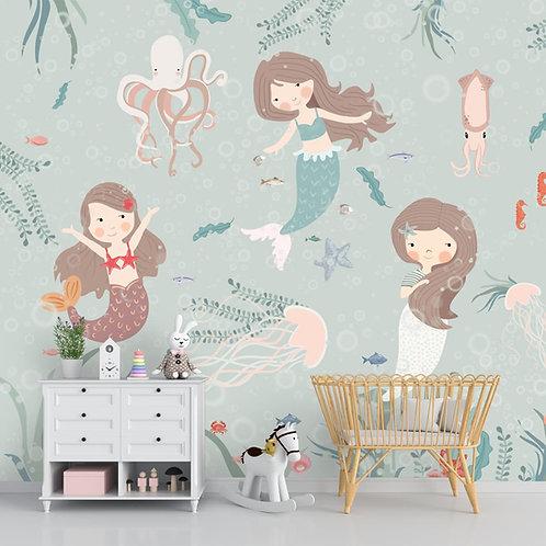 Cute Mermaids Wall Mural for Kids Room