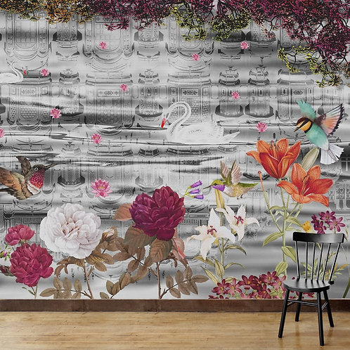 Hawa Mahal reflection with beautiful birds and flowers, premium wall mural