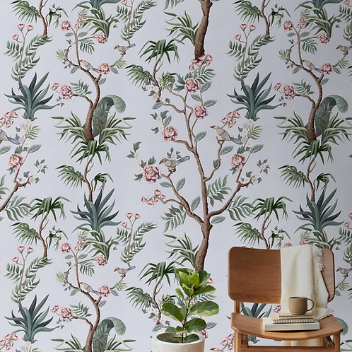 Chinoiserie Floral Wallpaper Design, Customised