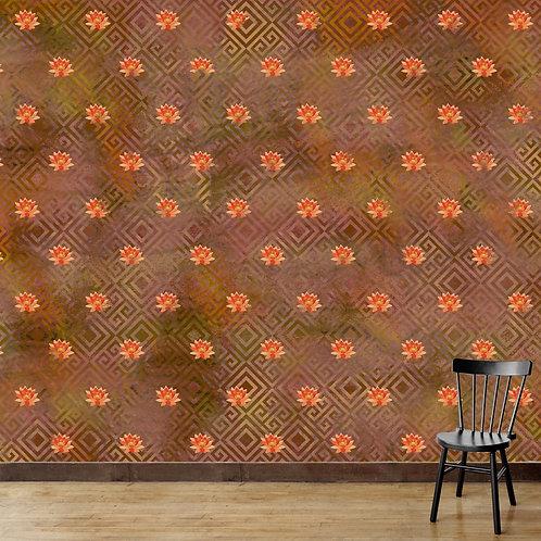 Abstract Lotus Repeat Print Wallpaper