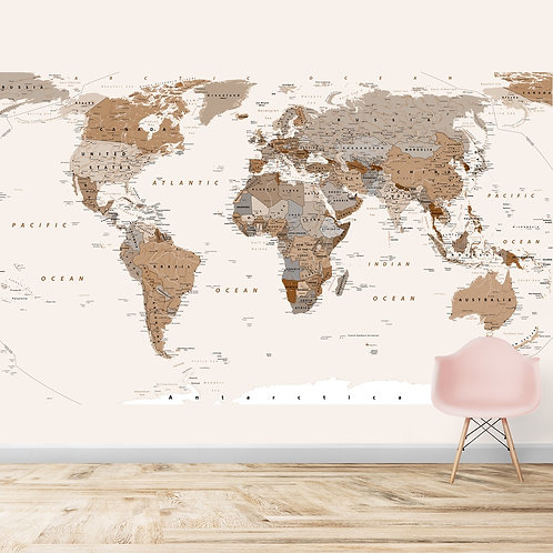 Brown and beige world map design wallpaper