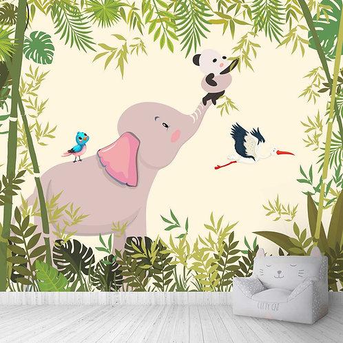 Elephant And Panda Jungle Theme For Kids Room