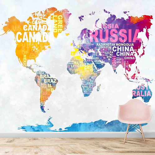 Abstract colourful world map, wallpaper theme