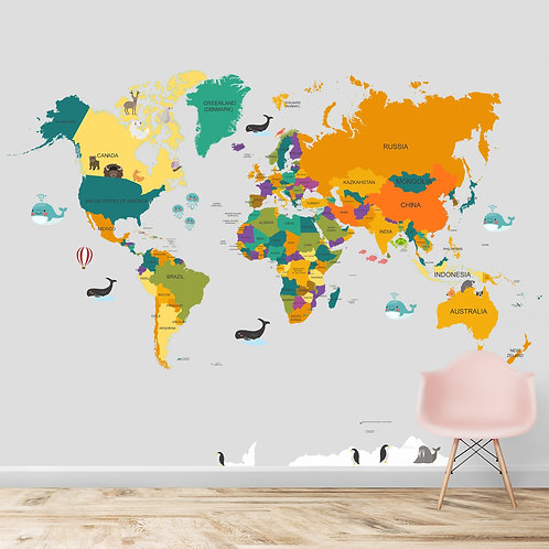 World Map for Kids room