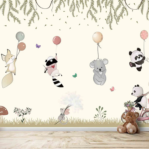 Cute Animals flying with balloons theme for kids room