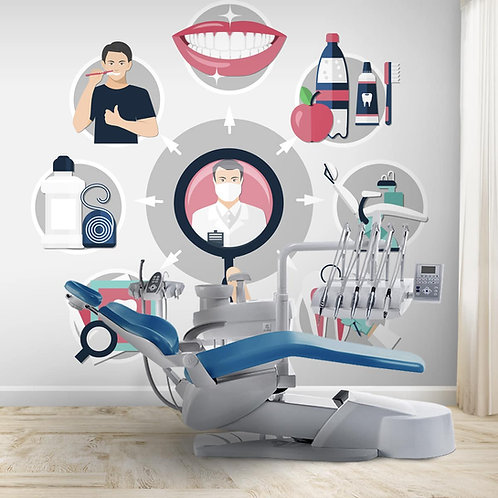 Teeth care wall mural for dental clinics