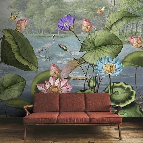 Lotus Leaves in Tropical Setting Wallpaper