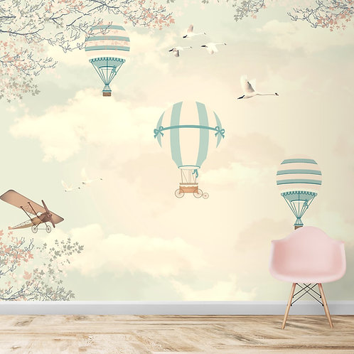 Hot air balloon wallpapers for kids room, gliders and old style plane