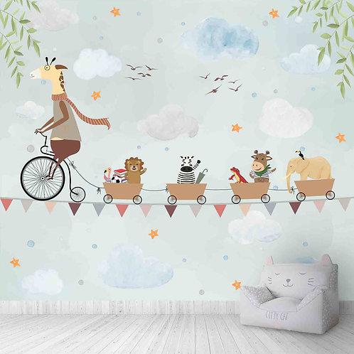 Giraffe Cycling on a rope, Animal theme for kids room