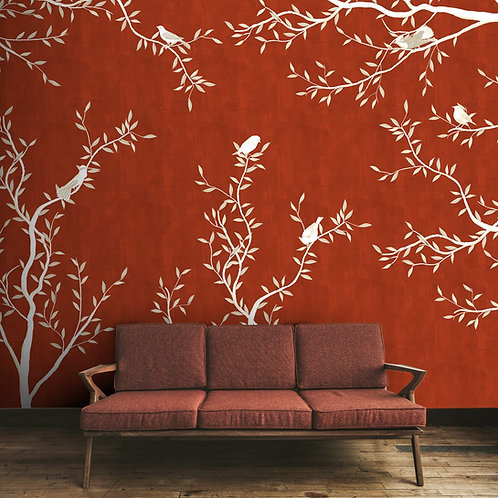 Red rustic theme with birds wallpaper