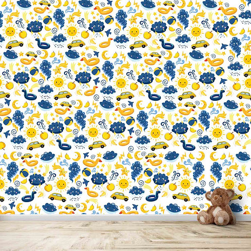 Nursery wallpapers for kids toys repeat pattern yellow and blue