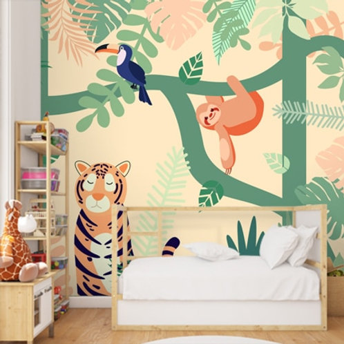 Jungle theme tiger wallpaper