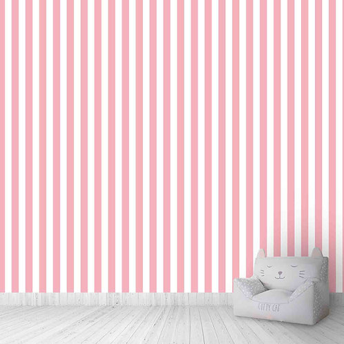 Pink and white girls room wallpaper